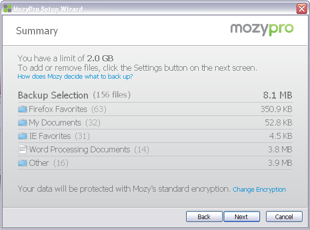 Online Backup by Mozy User Guide 7 9. On the next screen, click SETTINGS, which will launch your Settings Window.