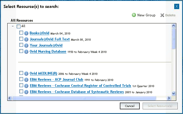 Opening a Nursing@Ovid Session Open the Nursing@Ovid URL with a browser or Follow a link on a web page or Use Athens or Shibboleth access Select Resources to Search On login, Nursing@Ovid may take