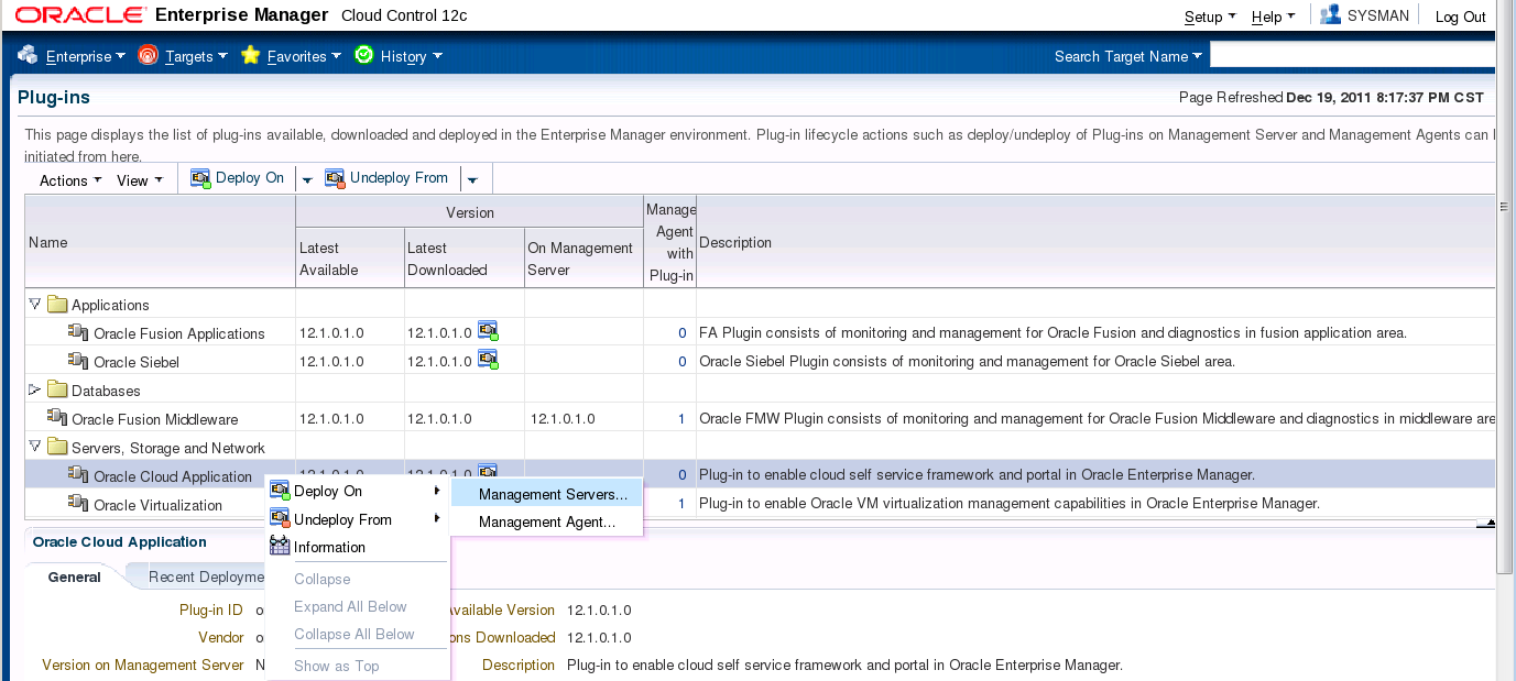Figure 8: Deploy Virtualization plug-in Deploy the cloud plug-in to the management server: Figure