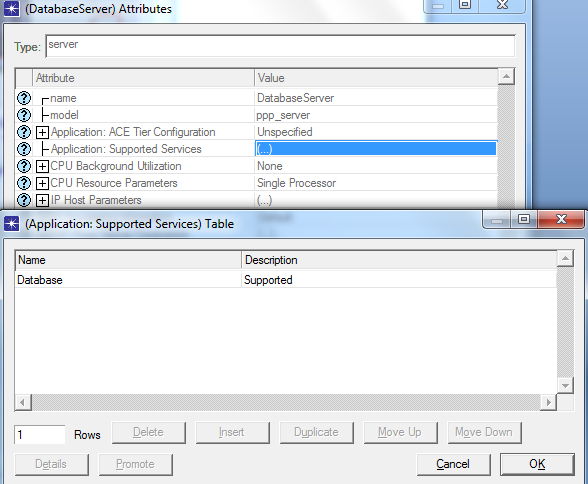 4.3.6 Server configurations Two PPS servers are dragged from the object palette and they are set as database server and web server.