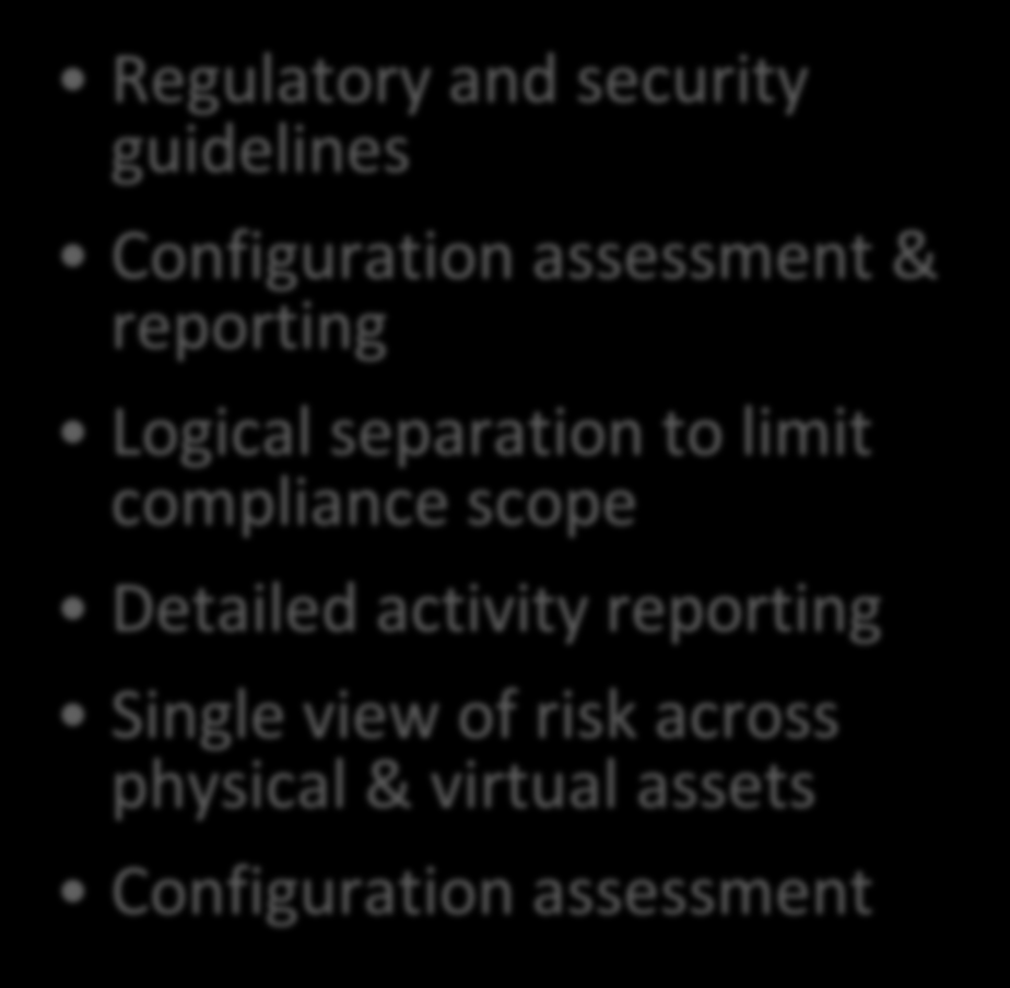 Critical Systems Protection + CCS VSM CSP: Protect & Prevent CCS VSM: Comply & Report Exploit prevention of both internal and external threats Targeted protection based on data and function Ensure