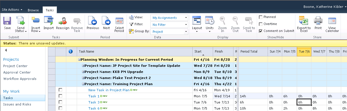 Managing task updates 3. The team member can use the buttons in the Period column of the ribbon to navigate to a previous week or later week by selecting the buttons.