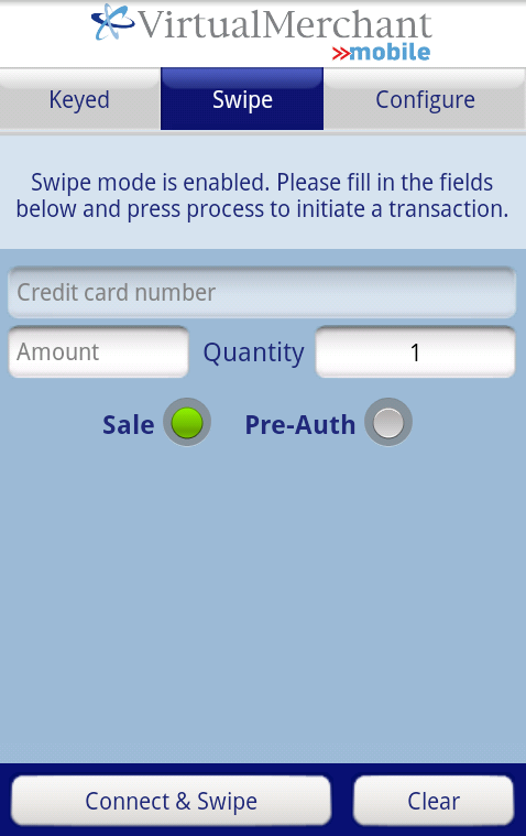 Processing Transactions using VirtualMerchant Mobile Processing Swiped Transactions Android Once the BulleT is paired to your mobile device you are ready to accept payments. 1.