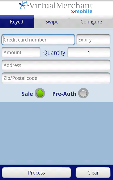 Processing Transactions using VirtualMerchant Mobile Processing Keyed Transactions Android 1. Select Keyed transaction at the top of the screen. 2. Enter the 16-digit Credit Card Number. 3.
