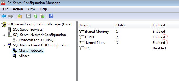 Next, check that the protocols are enabled. It is recommended that you enable TCP/IP and Named Pipes for both the SQL Server instance (see Figure 17) and the SQL Native Client 10.0 (see Figure 18).