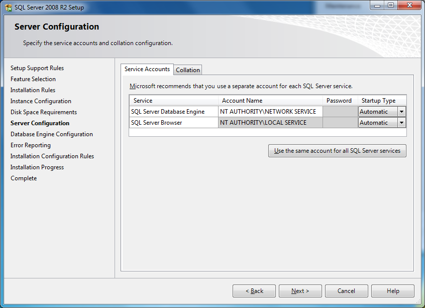 Next is the Server Configuration screen (see Figure 7). Figure 7 - Configuring the two services There are two services required by SQL Server to run on your server.