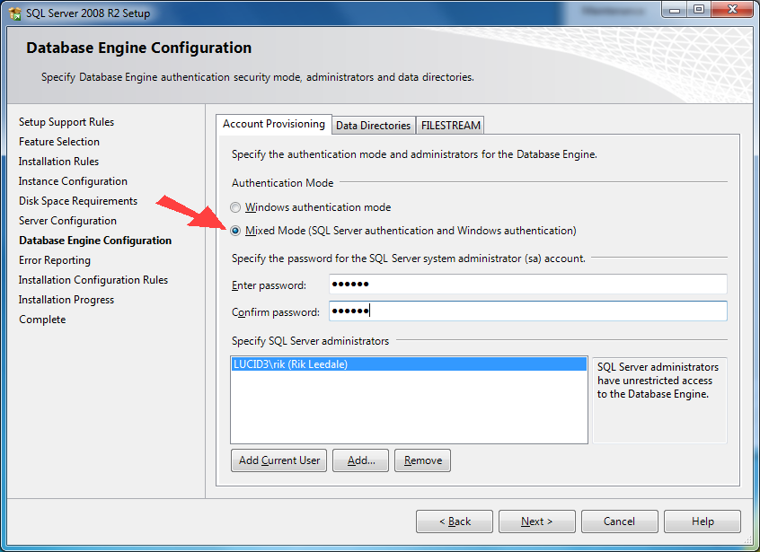 The next stage is Database Engine Configuration where you can choose the Authentication Mode for SQL Server users.