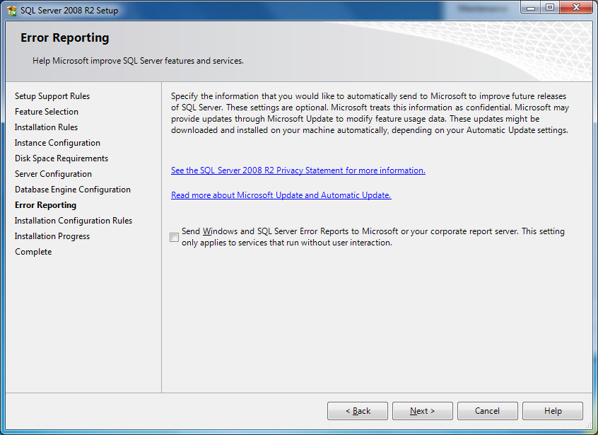 There is also a tick box which will allow you to send Windows and SQL Server error reports to Microsoft.