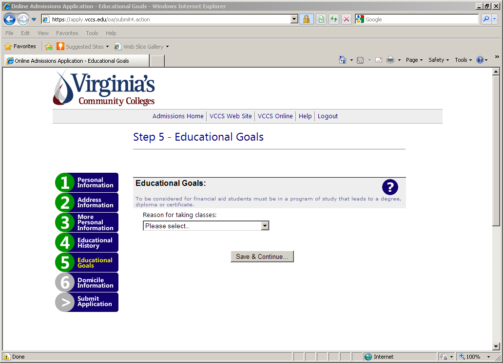 For Step 5: Educational Goals select the reason