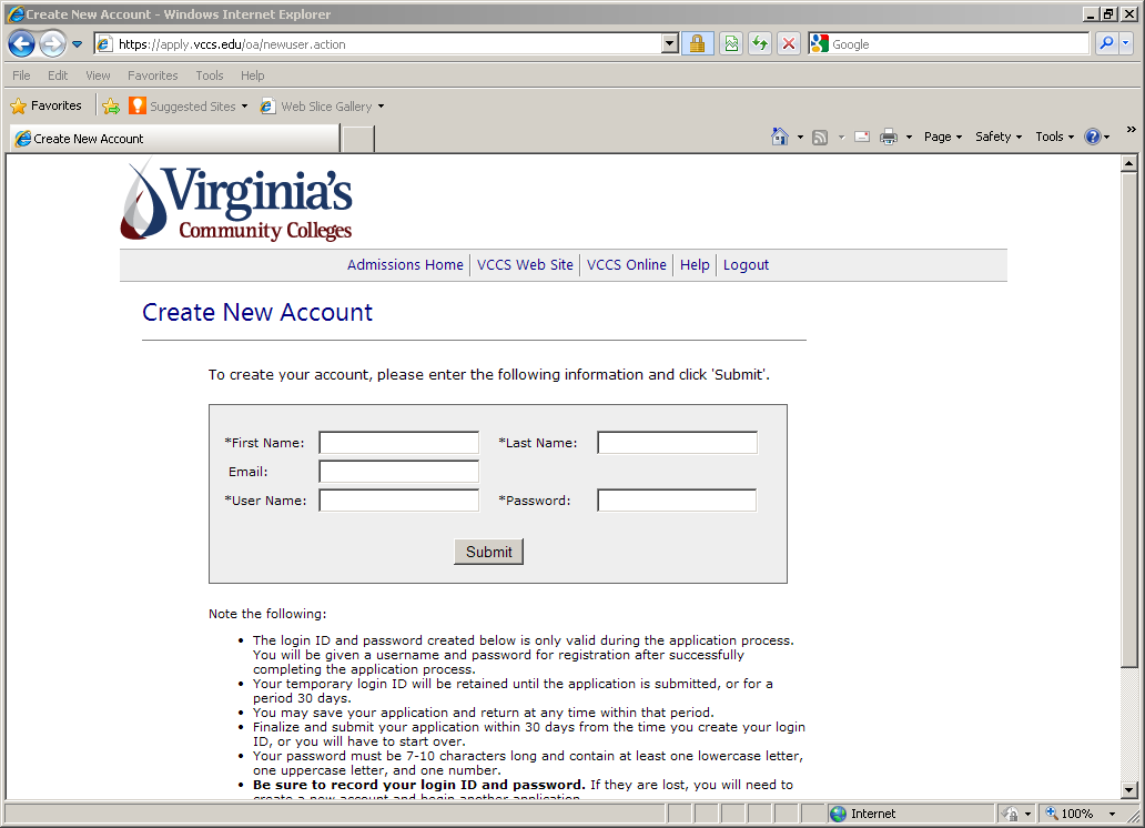At this point, you will need to create a temporary Username and Password for the VCCS Application.