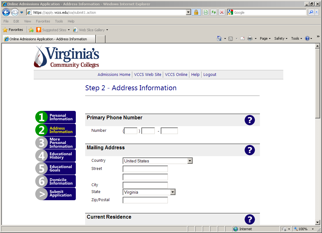 Continue through Step 2: Address Information on the online application.