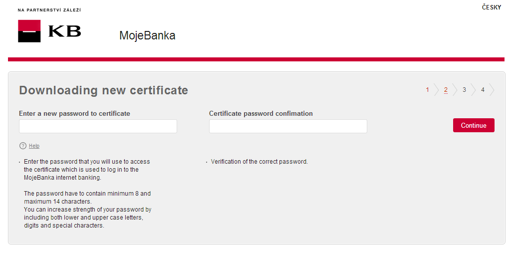 3. In the second step, enter the new password for your certificate and once again verify it.