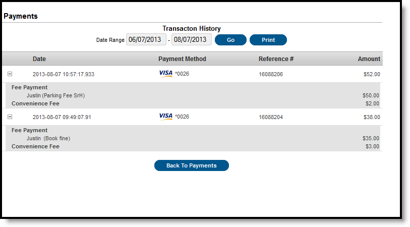 The Transaction History screen displays, listing any online payment transactions completed between the entered date range.