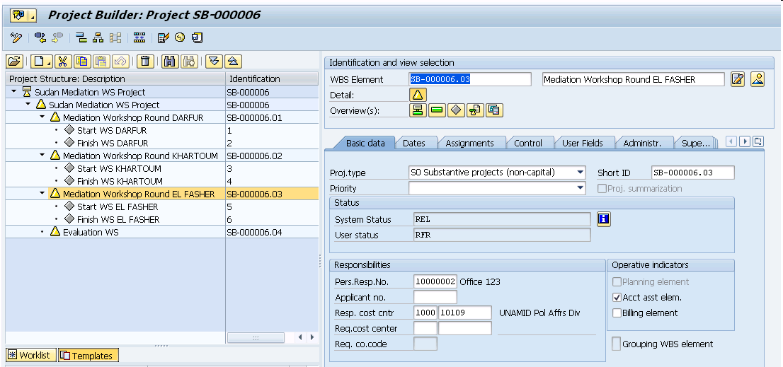 how to create wbs element in sap