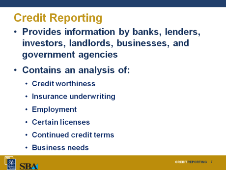 10 minutes Credit Reporting Slide 7 A small business credit report contains information provided by banks, lenders, investors, landlords, other businesses, and government agencies.