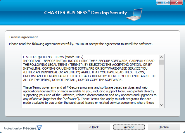 2. The License Agreement page opens.