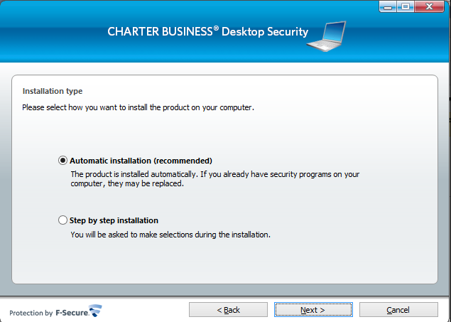 Note: You can find your subscription key under the Subscriptions tab in the Charter Business Desktop Security Portal. 4. The Installation Type page opens.