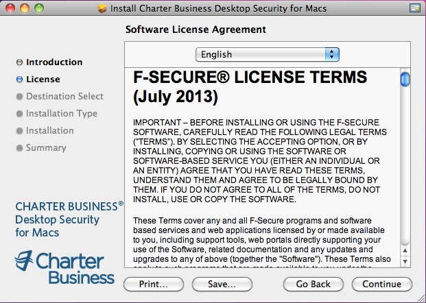 9. The Software License Agreement page opens. Read the License Terms and click Continue. 10.