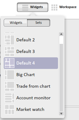 Sets Sets - is the name for default layouts menu.