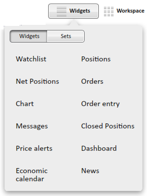 New widget Widgets - are the windows with modules. One can open them in the They are in the pop up widgets menu.