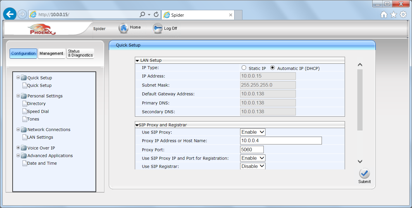 The user can select a Static IP option or a DHCP Automatic IP address.