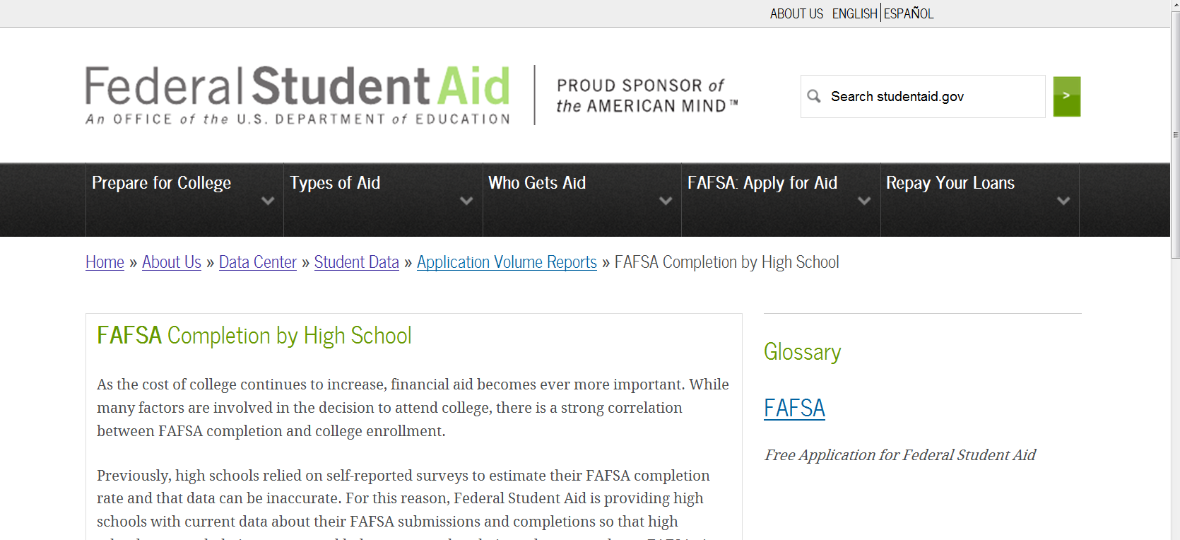 FAFSA Completion by High School http://studentaid.ed.