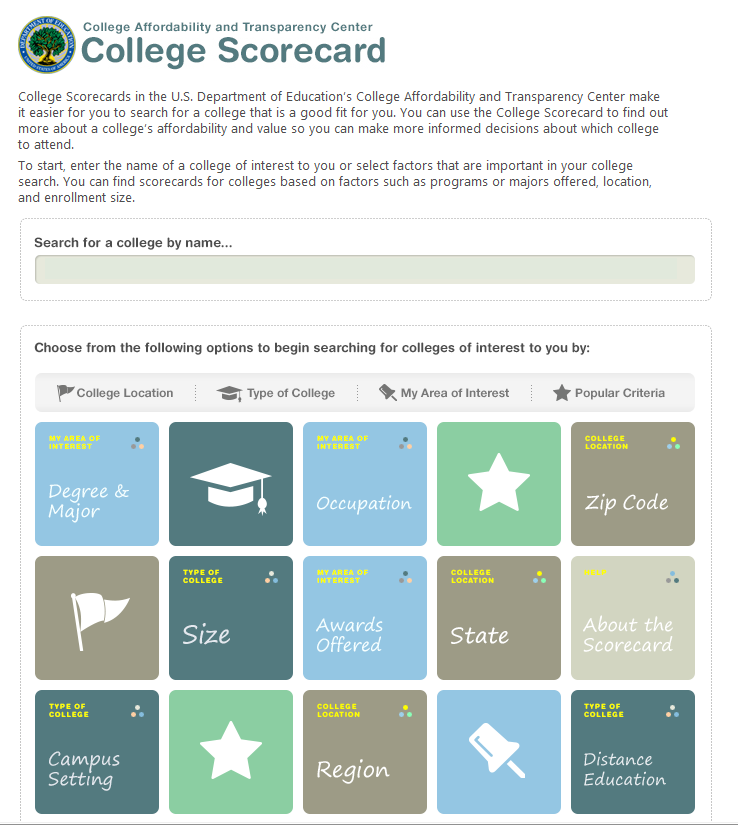 College Scorecard An online tool that will make it easier for students and families to compare colleges by comparing information such as: net