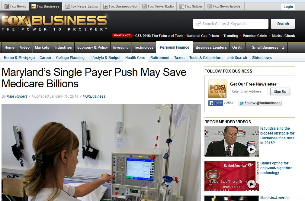 Media coverage of Maryland s new all-payer (global budget)