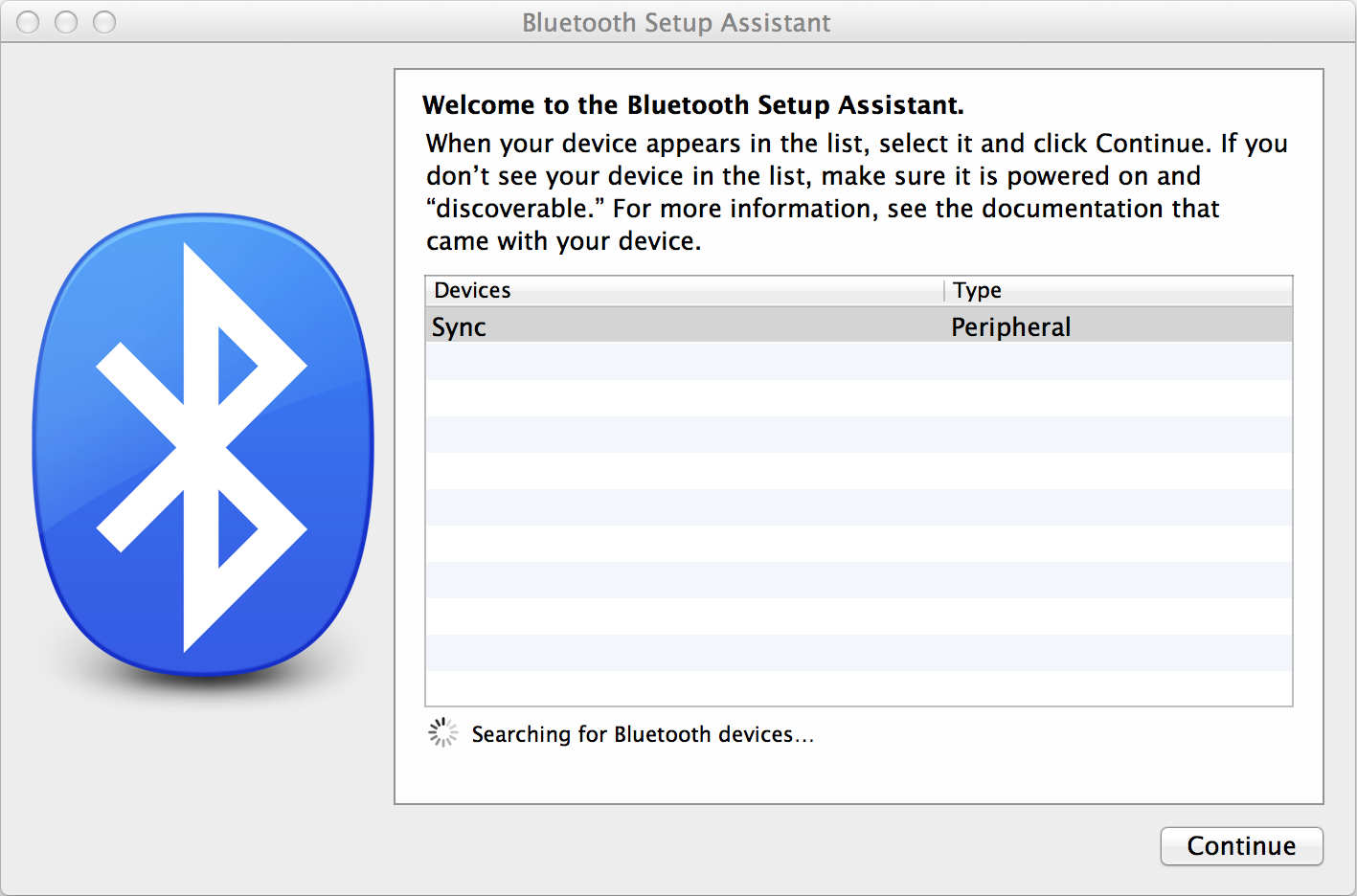3. In the Bluetooth Setup Assistant window, Sync should appear in the list under Devices. Select Sync and select Continue. If Sync does not show up in the list, repeat step 1.