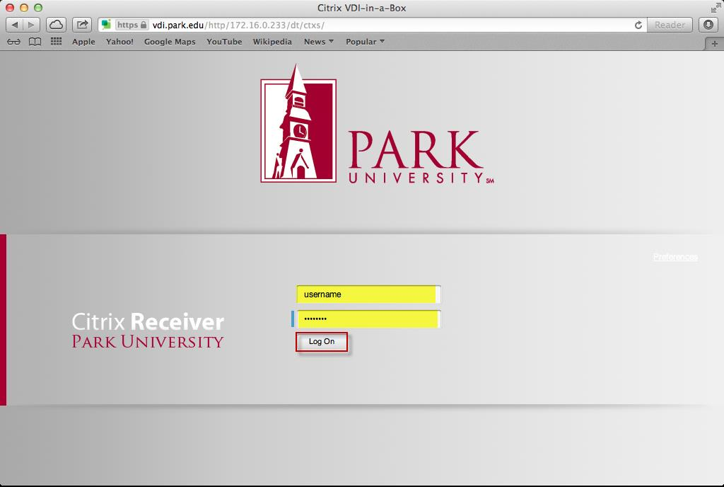 5. Enter the admin credentials, click Install Software. 6. Navigate your web browser to https://vdi.park.edu.