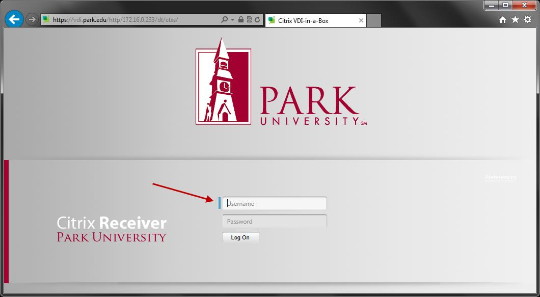 5. Allow the program to Install. 6. Navigate your web browser to https://vdi.park.edu.