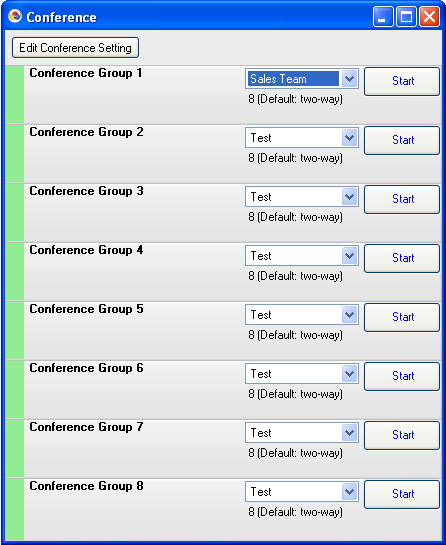 Conference Features A conference can be easily initiated using the conference interface. Choose Conference from the Dial menu to open the Conference group list.