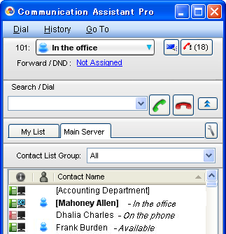 most often. Just drag and drop any contact from a PBX's contact list onto a My List tab. You can also right-click a contact and select Add to My List.