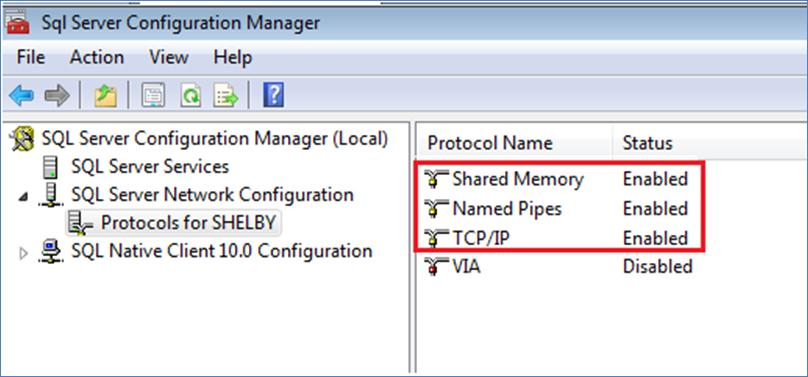 Verify that Named Pipes and TCP/IP are set to Enabled. If these items are not already enabled, right-click them and select Enable.