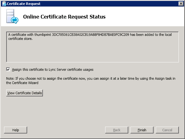 The Online Certificate Request Status screen is displayed.