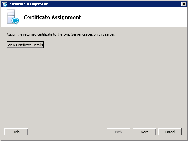 The Certificate Assignment