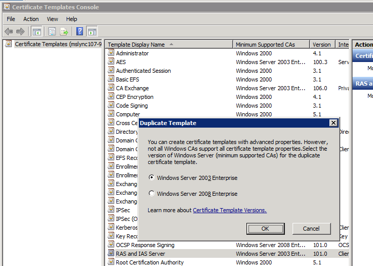 Right click RAS and IAS Server, then in the popup window select duplicate template.