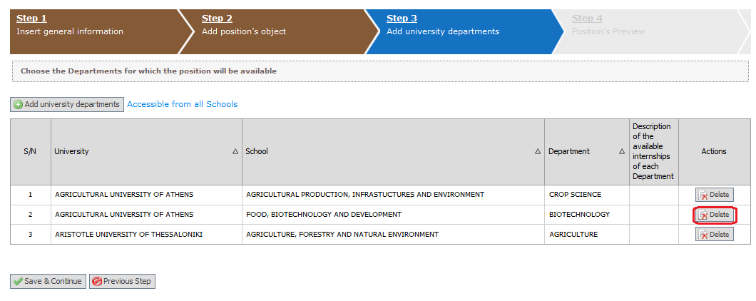 Selecting Continue, a description of the departments that you have selected will be displayed.