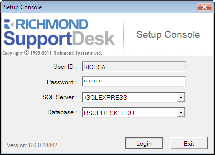 4.2. Configuring the Email Services 1. From any computer on which you have installed the SupportDesk Main Client, go to Start > All Programs > Richmond System > SupportDesk > Setup Console.