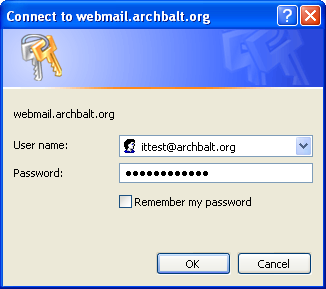 4. Click the ARCHMAIL button. 5. The OWA login window displays. In the User name field, enter your AOB email address. (ittest@archbalt.