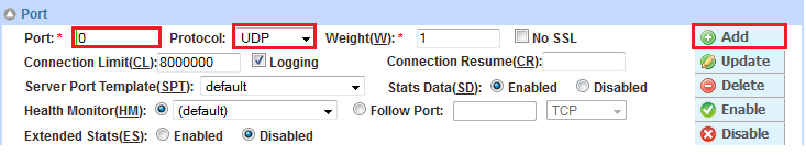 "Diagram 20: Internal server configuration 5. Click OK and save the configuration. 6. In the Port section, enter port number 0 (zero) and select ""TCP"" from the Type drop-down list. Then click Add. 7."