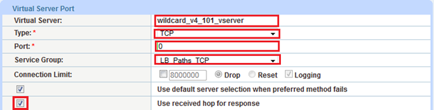 IPv4/IPv6: Select the applicable IP version. Note: The example name shown above indicates that this wildcard VIP is for IPv4 and uses ACL 101. Configuration of the ACL is not shown here.
