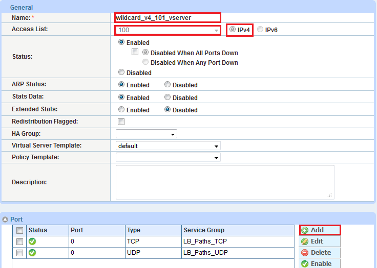 Diagram 26: AX virtual server UDP port configuration 6. Click OK and save the configuration.