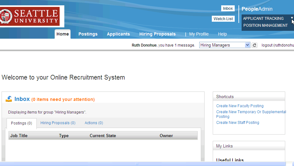 Return to Applicant Tracking to Create the Posting Applicant tracking- Requests