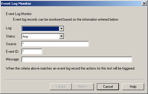 Omtool Server Monitor administrator guide 3-15 Event Log Monitor The Event Log Monitor test allows you to configure what information you want to retrieve from the Event Log.
