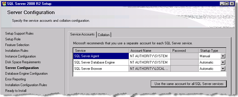 StruxureWare Power Monitoring Expert 7.2 Installation Guide Installing SQL Server 9. Select Use the same account for all SQL Server services to open the dialog. 10.
