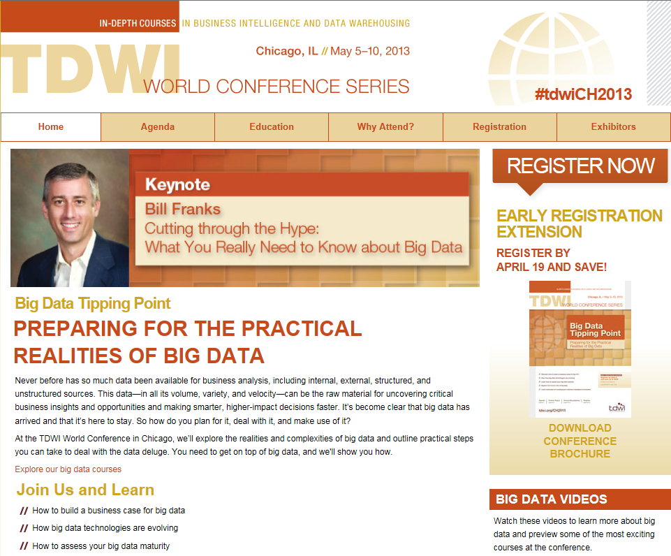 Want to learn more about Big Data & Analytics? Take courses at the TDWI World Conference in Chicago!