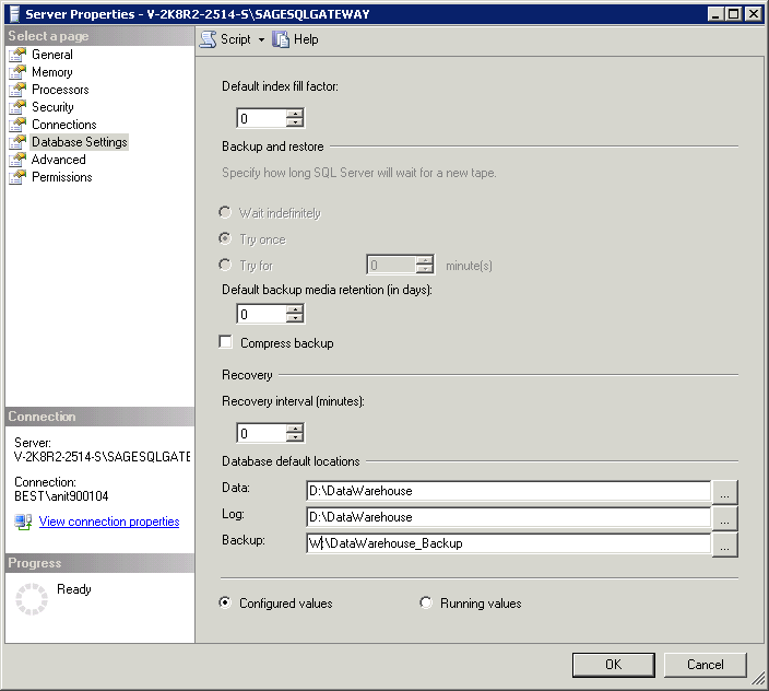 Appendix Sage SQL Gateway Set the Default Data Location 1. In SQL Server Management Studio, right-click the database engine and select Properties. 2. Click Database Settings. 3.