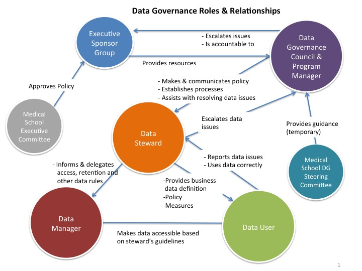 Figure 2 University of Michigan Medical School Data Governance Program Roles & Relationships 5.3.1 Data Steward Institutional Data shall have one or more designated stewards.