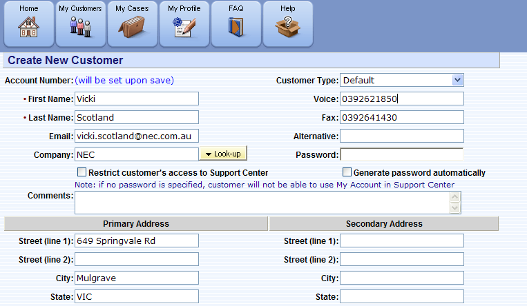 CRM Cntacts Management The My Custmers screen displays custmers that are/have been managed by an Agent.